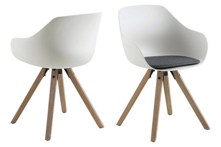 STOLICA - Siva/Bela, Dizajnerski, Tekstil/Plastika (56,5/80,5/53cm) - Carryhome