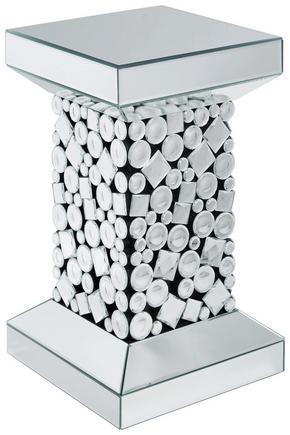 AVLASTNINGSBORD - silver/svart, Design, glas/träbaserade material (30,5/51/30,5cm) - Ambia Home