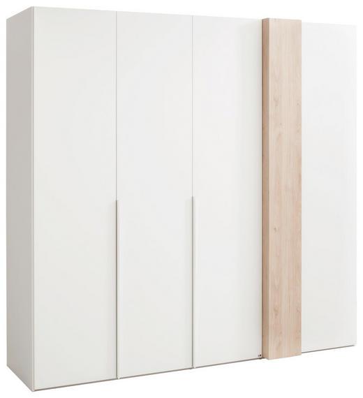 DREHTÜRENSCHRANK 4  -türig Eichefarben, Weiß - Chromfarben/Eichefarben, Design, Holzwerkstoff/Metall (225/216/68cm) - Set one by Musterrin