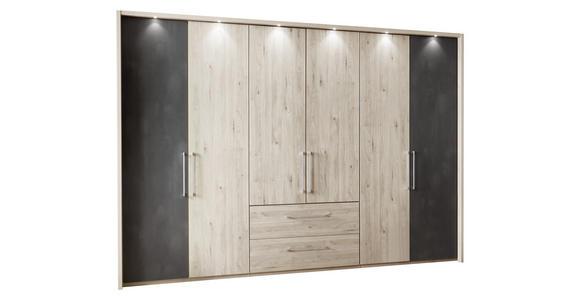 DREHTÜRENSCHRANK in Eichefarben, Schieferfarben  - Schieferfarben/Eichefarben, KONVENTIONELL, Holzwerkstoff/Metall (300/216/58cm) - Voleo
