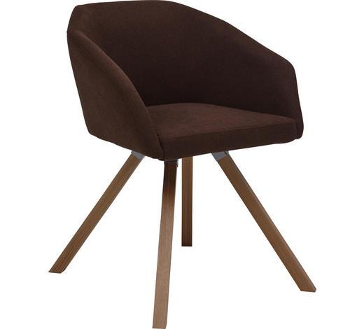 ARMLEHNSTUHL Flachgewebe Eiche massiv Braun, Eichefarben  - Eichefarben/Braun, Design, Holz/Textil (62/81/56cm) - Dieter Knoll