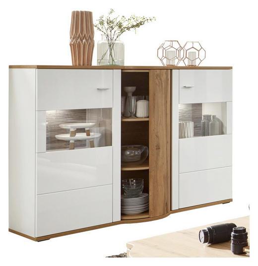 HIGHBOARD - Eichefarben/Weiß, Design, Glas/Holzwerkstoff (161/121/54cm) - Stylife