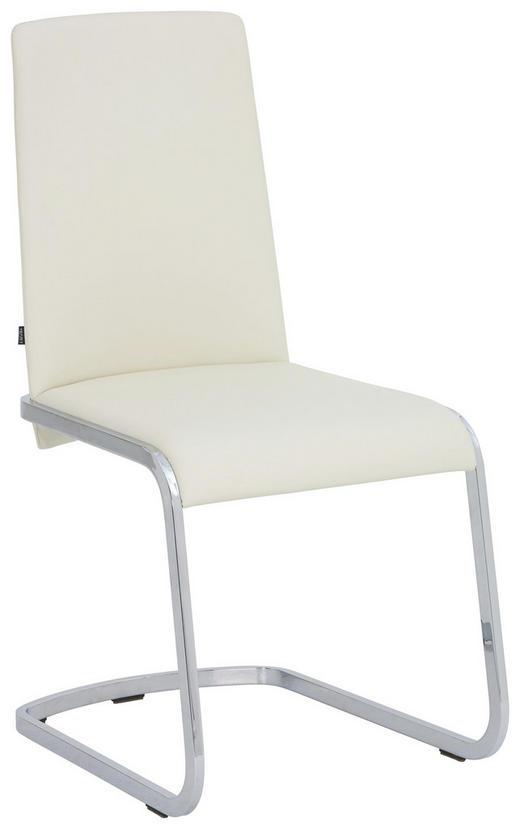 SCHWINGSTUHL in Metall, Leder Weiß, Chromfarben - Chromfarben/Weiß, Design, Leder/Metall (47,5/95/60,5cm) - Team 7