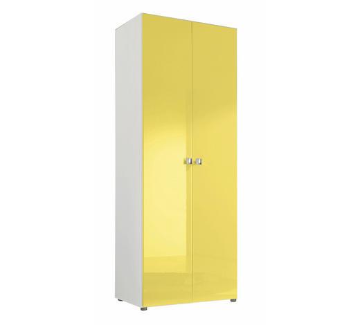 DREHTÜRENSCHRANK in Gelb, Weiß - Gelb/Alufarben, Design, Holzwerkstoff/Kunststoff (81/214/53cm) - Carryhome