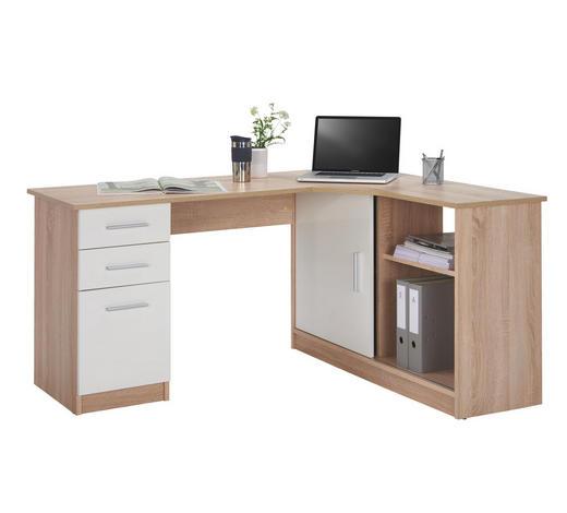 Eckschreibtisch - Eichefarben/Alufarben, Konventionell, Holzwerkstoff/Kunststoff (150/75/120cm) - Venda