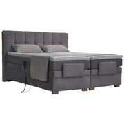 POSTEL BOXSPRING,  x textil, světle šedá - světle šedá/barvy ořechu, Moderní, dřevo/textil (180/200cm) - Blanar
