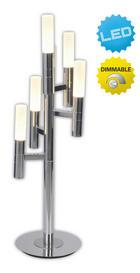 LED-TISCHLEUCHTE - Chromfarben/Weiß, Design, Glas/Metall (18/64cm)