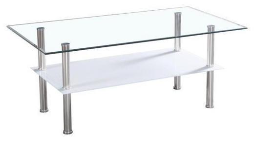 COUCHTISCH rechteckig Edelstahlfarben, Weiß - Edelstahlfarben/Weiß, Design, Glas/Metall (90/55/40cm) - Carryhome