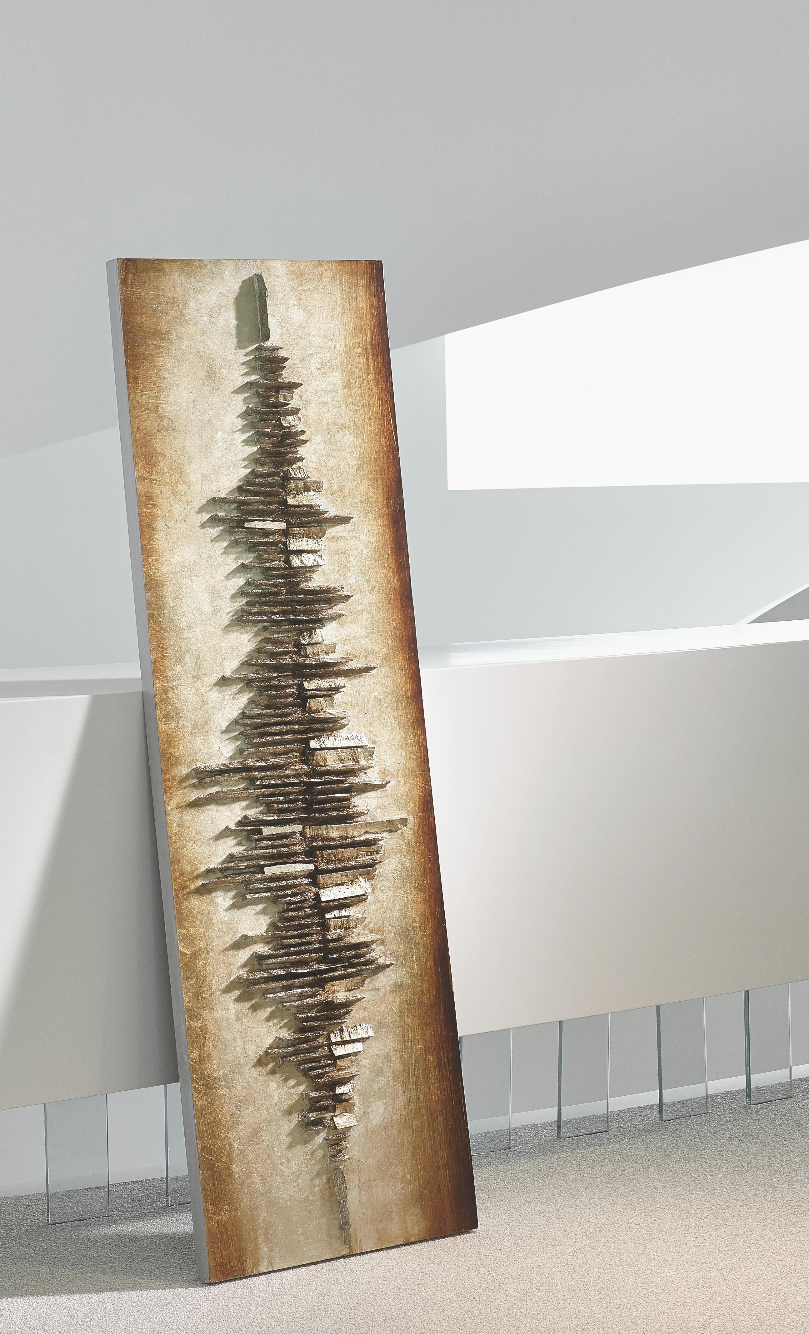 OBRAZ - barvy stříbra/černá, Basics, dřevo (55/180cm) - MONEE