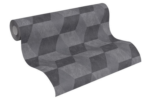 VLIESTAPETE 10,05 m - Schwarz/Grau, Design, Textil (53/1005cm)