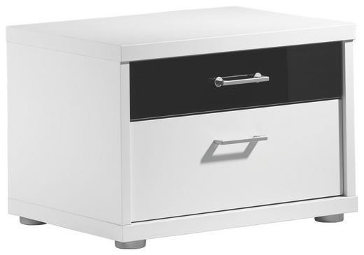 NACHTKÄSTCHEN Wasserlack Schwarz, Weiß - Chromfarben/Silberfarben, Design, Glas/Metall (58/41/43cm) - Cantus