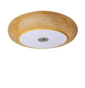 TAKLAMPA - vit/nickelfärgad, Trend, trä (50/50/12cm) - Marama