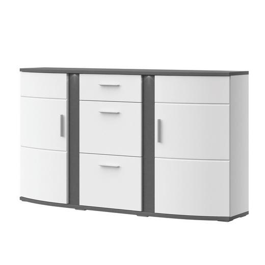 SIDEBOARD Melamin Graphitfarben, Weiß - Graphitfarben/Alufarben, Design, Glas/Kunststoff (163,7/94/40,4cm) - Xora