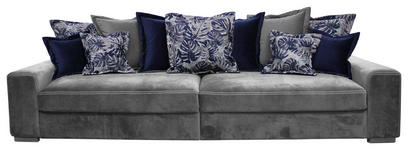 BIGSOFA in Textil Grau - Blau/Dunkelgrau, LIFESTYLE, Textil (289/90/115cm) - Landscape