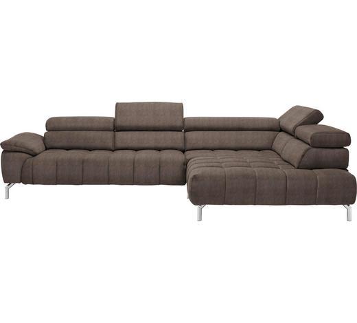 WOHNLANDSCHAFT in Textil Braun  - Chromfarben/Braun, Design, Textil/Metall (323/222cm) - Beldomo Style