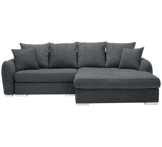 WOHNLANDSCHAFT in Textil Dunkelgrau  - Chromfarben/Dunkelgrau, Design, Kunststoff/Textil (275/195cm) - Carryhome