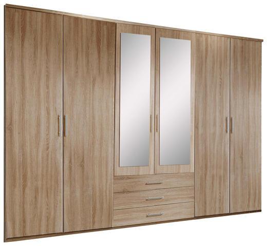 KLEIDERSCHRANK 6-türig Eichefarben - Eichefarben/Alufarben, KONVENTIONELL, Glas/Holzwerkstoff (270/210/58cm) - Carryhome