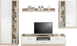 WOHNWAND Eichefarben, Weiß - Eichefarben/Silberfarben, Design, Glas/Holzwerkstoff (330/194/40cm) - Hom`in