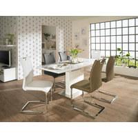 ESSTISCH rechteckig Weiß, Edelstahlfarben  - Edelstahlfarben/Weiß, Design, Glas/Metall (140(180)/80/76cm) - Carryhome