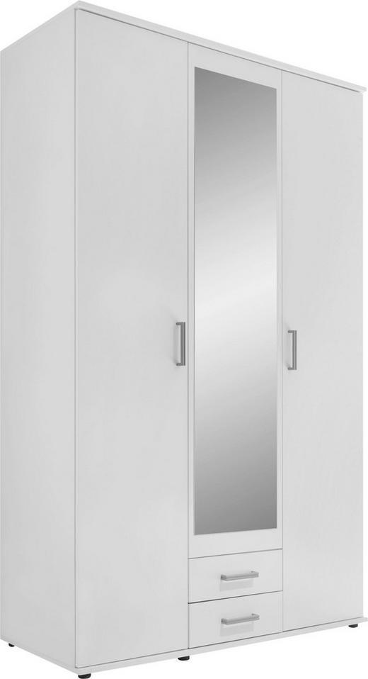 DREHTÜRENSCHRANK in Weiß - Alufarben/Weiß, Design, Glas/Holzwerkstoff (120/195/55cm) - Carryhome