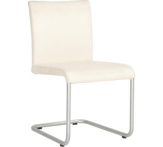 SCHWINGSTUHL Echtleder Weiß, Chromfarben  - Chromfarben/Weiß, Design, Leder/Metall (49/85/60cm) - Hülsta