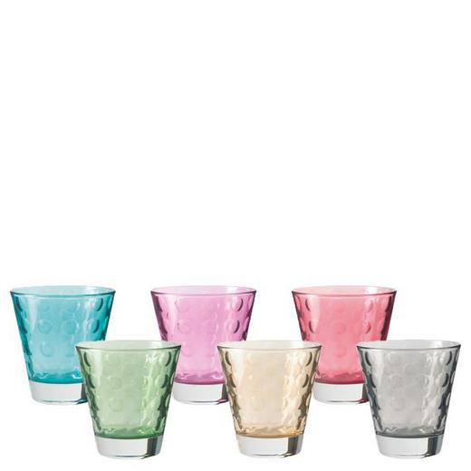 SET 6/1 KOZAREC OPTIC COLOR - roza/turkizna, Basics, steklo (8,3/9/8,3cm) - Leonardo