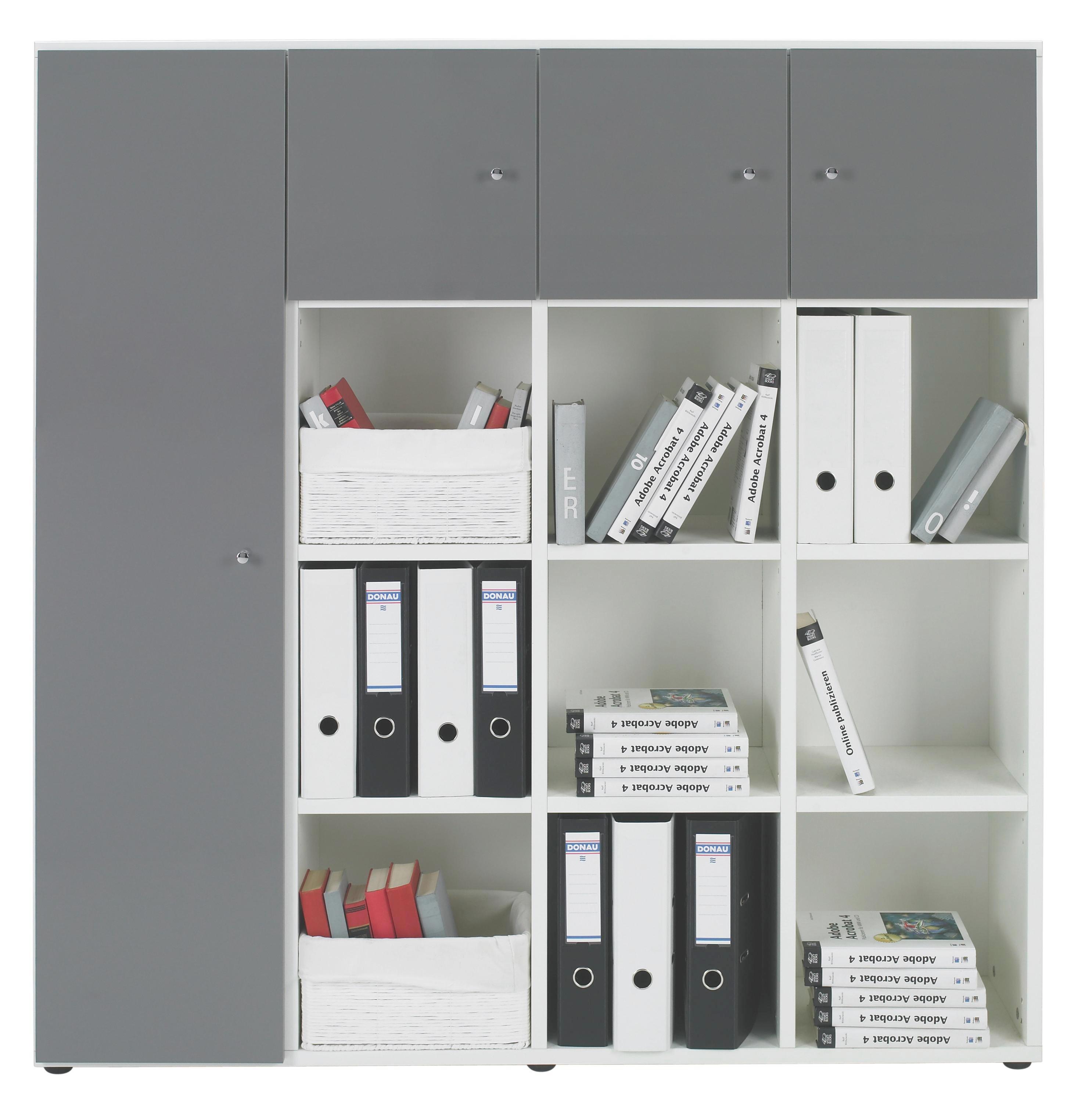 REGALKOMBINATION in Grau, Weiß - Chromfarben/Schwarz, Design, Holzwerkstoff/Kunststoff (143.1/144.6/33.3cm) - WELNOVA