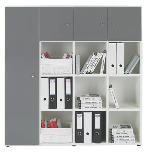 REGALKOMBINATION in Grau, Weiß - Chromfarben/Schwarz, KONVENTIONELL, Holzwerkstoff/Kunststoff (143.1/144.6/33.3cm) - Welnova