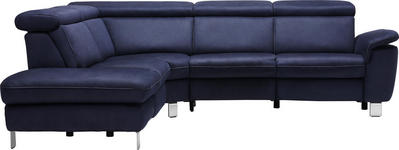 WOHNLANDSCHAFT in Textil Dunkelblau  - Beige/Alufarben, Design, Textil/Metall (242/271cm) - Cantus