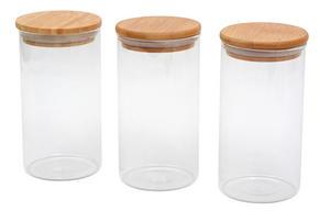 FÖRVARINGSGLAS SET - transparent/naturfärgad, Basics, trä/glas (0,65l)