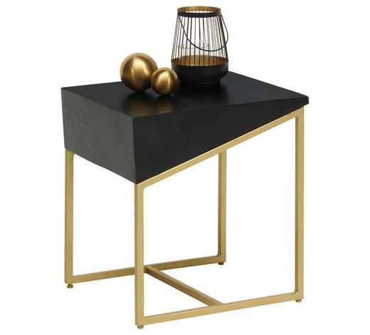 ODKLÁDACÍ STOLEK, dřevo, kov, černá, barvy zlata - černá/barvy zlata, Trend, kov/dřevo (40/35/45cm) - Lomoco
