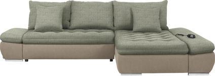 WOHNLANDSCHAFT in Textil Beige, Naturfarben - Chromfarben/Beige, Design, Textil/Metall (309/200cm) - Hom`in