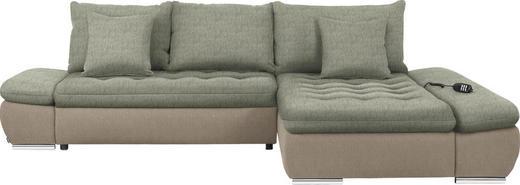 WOHNLANDSCHAFT in Textil Naturfarben, Beige - Chromfarben/Beige, Design, Textil/Metall (309/200cm) - Hom`in