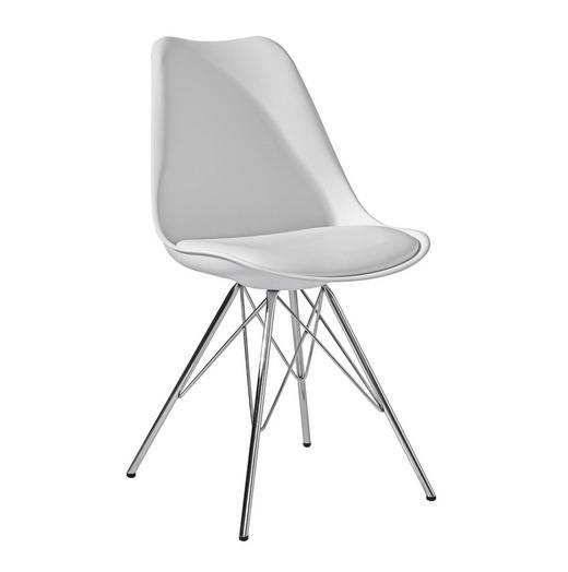 STUHL Lederlook Weiß - Chromfarben/Weiß, Design, Kunststoff/Textil (48/86/56cm) - Carryhome