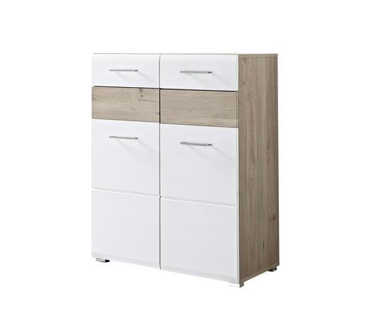 SCHUHSCHRANK Eiche foliert Weiß, Eichefarben  - Chromfarben/Eichefarben, Basics, Holzwerkstoff/Metall (84/104/40cm) - Carryhome