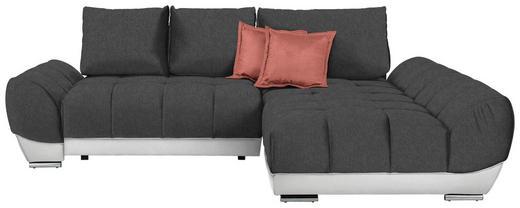 WOHNLANDSCHAFT in Textil Dunkelgrau, Rosa, Weiß - Dunkelgrau/Rosa, MODERN, Textil/Metall (290/192/cm) - Carryhome