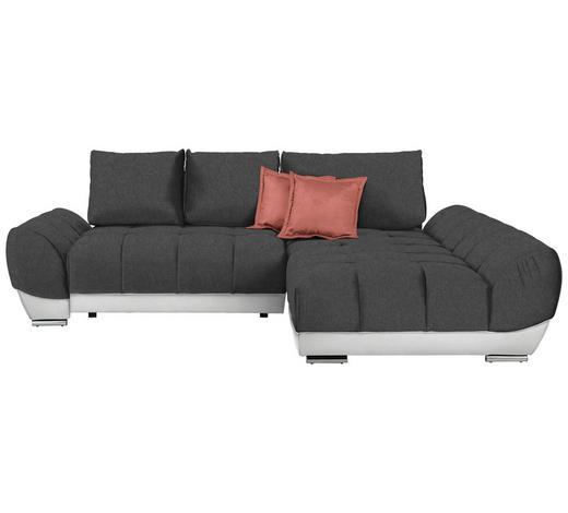 WOHNLANDSCHAFT in Textil Rosa, Weiß, Dunkelgrau - Dunkelgrau/Rosa, MODERN, Textil/Metall (290/192cm) - Carryhome
