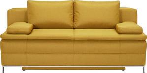 BOXSPRINGSOFA in Gelb Textil - Chromfarben/Gelb, Design, Textil/Metall (200/93/107cm) - Novel