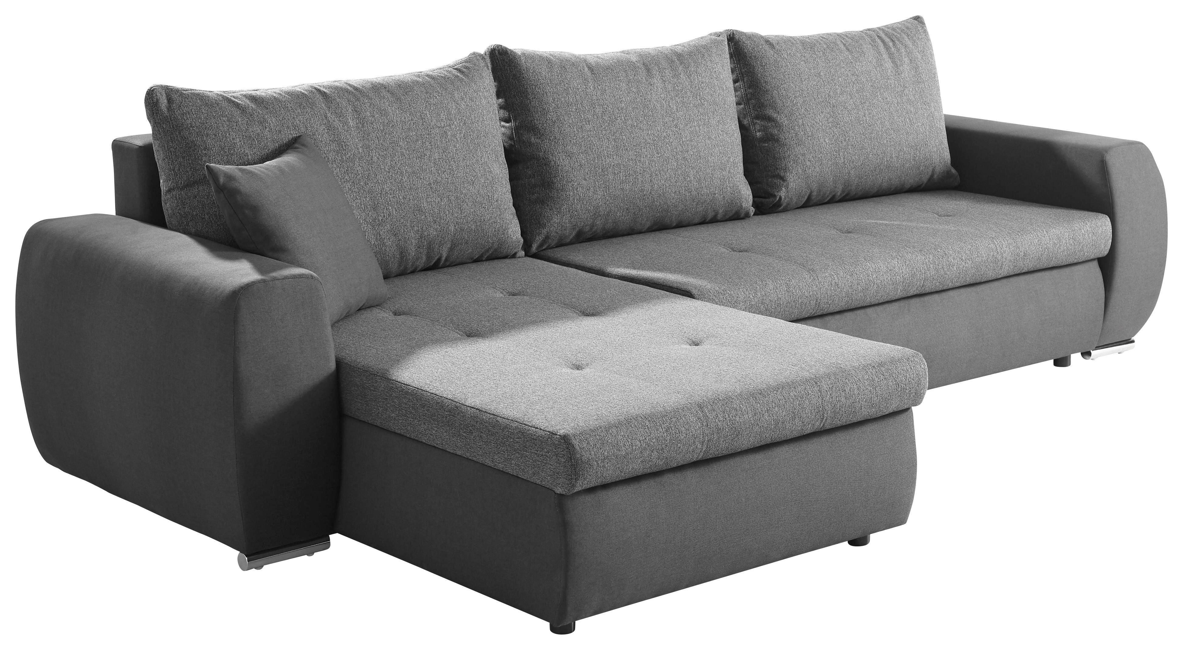 WOHNLANDSCHAFT Webstoff Bettkasten, Rücken echt, Rückenkissen, Schlaffunktion, Zierkissen - Silberfarben/Graphitfarben, Design, Kunststoff/Textil (300/175cm) - CARRYHOME