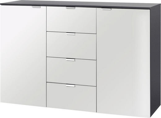SIDEBOARD lackiert Graphitfarben, Weiß - Graphitfarben/Alufarben, Design, Holzwerkstoff/Metall (140/80/42cm) - Carryhome