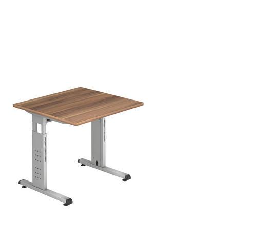 SCHREIBTISCH - Silberfarben/Zwetschgefarben, KONVENTIONELL, Holzwerkstoff/Metall (80/80cm)