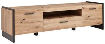 TV-ELEMENT 187/51/41 cm  - Eichefarben/Grau, Design, Holzwerkstoff/Kunststoff (187/51/41cm) - Hom`in