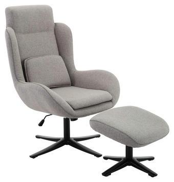 RELAXSESSELSET in Textil Grau, Schwarz - Schwarz/Grau, Design, Textil/Metall (75/109/81cm) - Carryhome