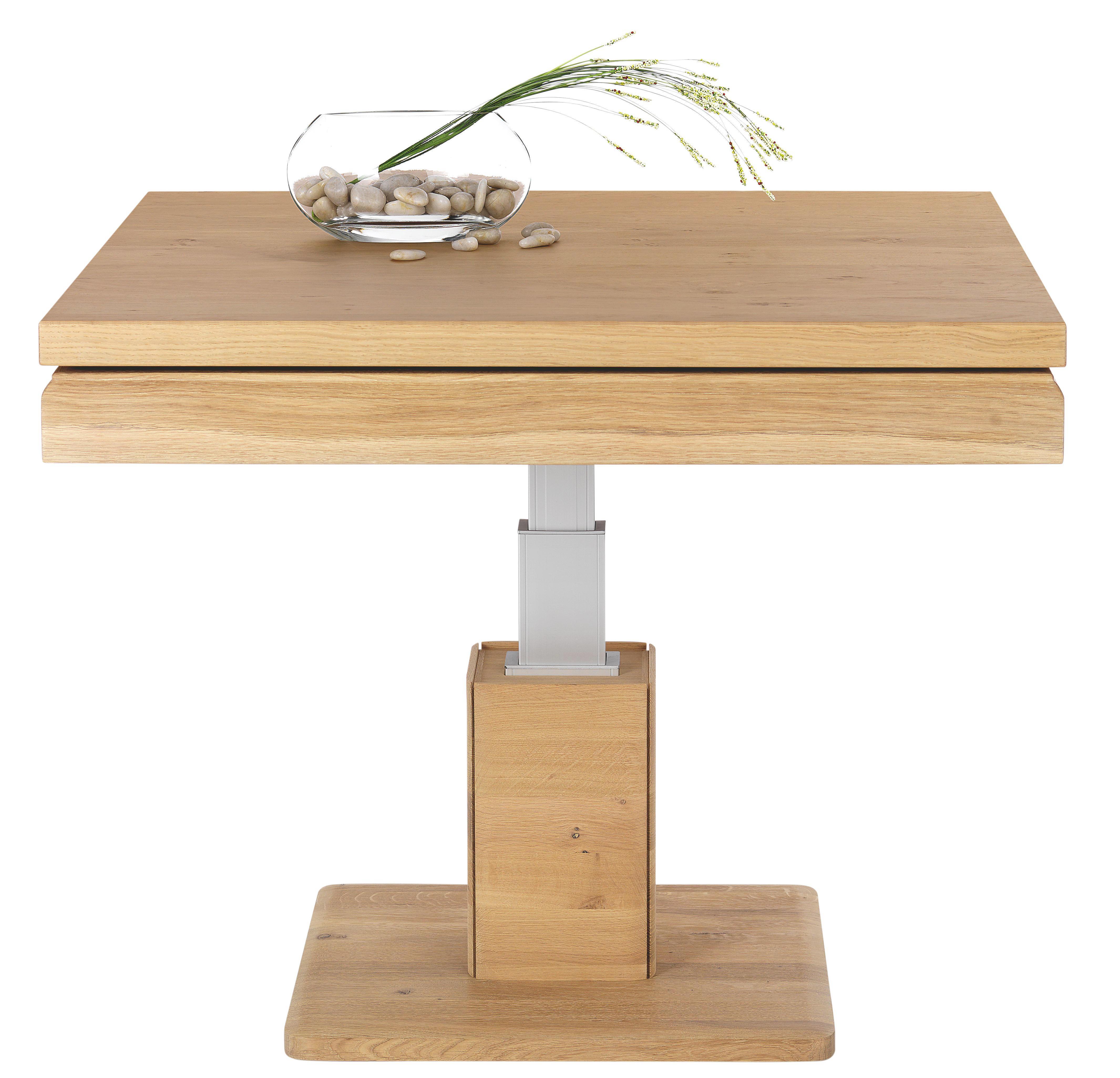 COUCHTISCH in 90/47-83/90 cm Eichefarben - Eichefarben, Design, Holz/Metall (90/47-83/90cm)