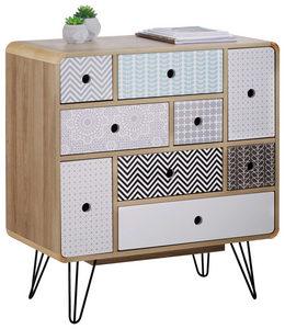 BYRÅ - vit/multicolor, Design, metall/träbaserade material (80/85/40cm) - Carryhome