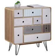 KOMODA, šedá, černá, bílá, barvy dubu - šedá/bílá, Design, kov/kompozitní dřevo (80/85/40cm) - Carryhome