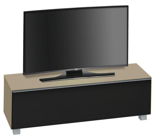 SOUNDBOARD in 140,2/43,3/42 cm Schwarz, Sandfarben  - Sandfarben/Schwarz, Design, Glas/Holzwerkstoff (140,2/43,3/42cm)