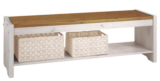 SITZBANK Kiefer massiv Weiß, Kieferfarben - Weiß/Kieferfarben, Design, Holz (140/48/40cm) - Carryhome