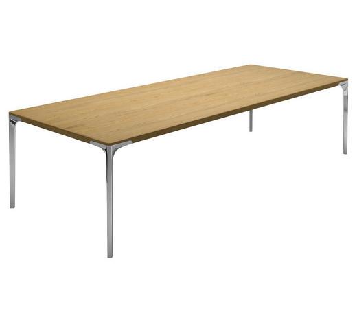 ESSTISCH in Holz, Metall 260/95/74 cm - Eichefarben/Alufarben, Design, Holz/Metall (260/95/74cm) - Hülsta