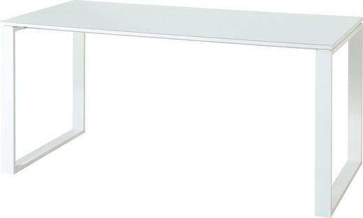 SCHREIBTISCH Weiß - Weiß, MODERN, Glas/Metall (160/75/80cm)